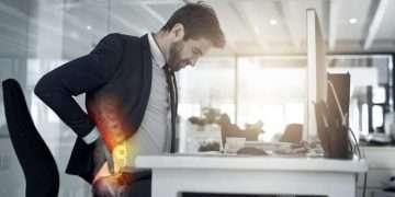Poor posture back pain at work